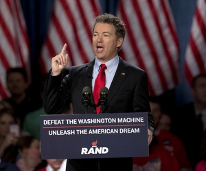 Sen. Rand Paul, R-Ky. announces the start of his presidential campaign, Tuesday, April 7, 2015, at the Galt House Hotel in Louisville, Ky.