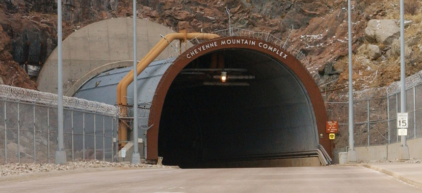 The entrance of the Cheyenne Mountain complex.
