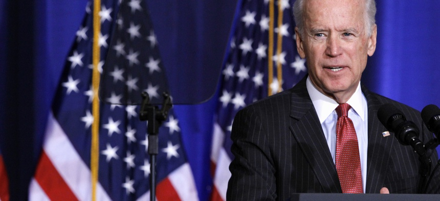 Vice President Joe Biden speaks about U.S. policy in Iraq, Thursday, April 9, 2015.