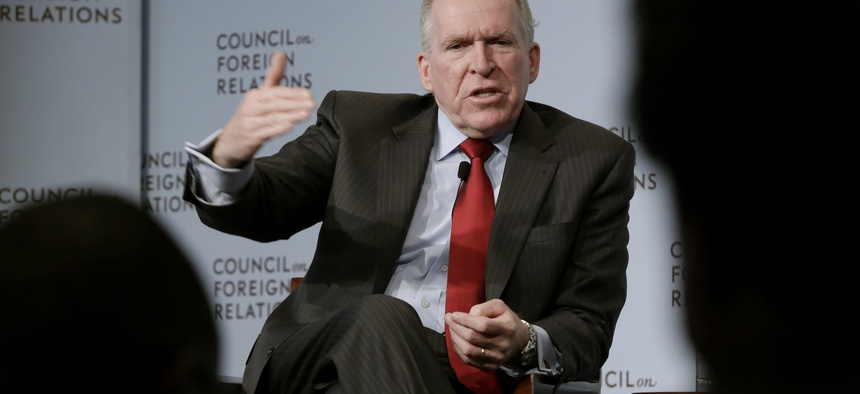 CIA Director John Brennan addresses a meeting at the Council on Foreign Relations, in New York, Friday, March 13, 2015.