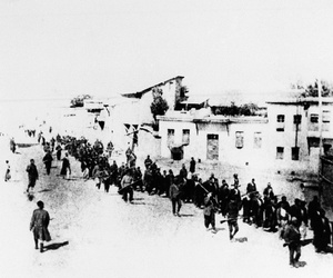 This is the scene in Turkey in 1915 when Armenians were marched long distances and said to have been massacred.