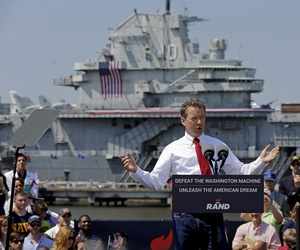 Republican Presidential candidate, Sen. Rand Paul, R-Ky., speaks at a rally at the USS Yorktown in Mount Pleasant, S.C., Thursday, April 9, 2015.