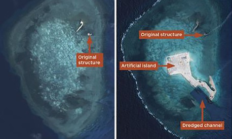 Airbus Defence and Space satellite imagery shows the brisk clip at which China has turned Gaven Reefs into a helipad-supporting island.
