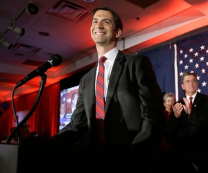 Rep. Tom Cotton, R-Ark., is applauded at his election watch party in North Little Rock, Ark., Nov. 4, 2014.