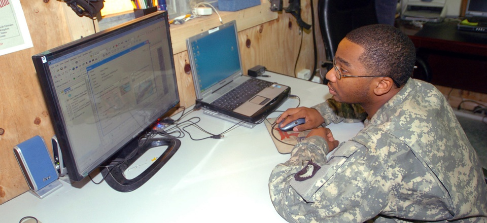 A geospatial analyst creates a map using Arc Geospatial Intelligence Support Program.