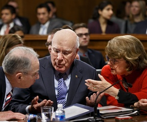 Senate Judiciary Committee Chuck Grassley, R-Iowa, Sen. Patrick Leahy, D-Vt., and Sen. Dianne Feinstein, D-Calif., confer on Capitol Hill, Jan. 22, 2015.