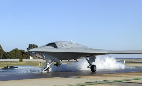 An X-47B prepares to take off during a catapult test.