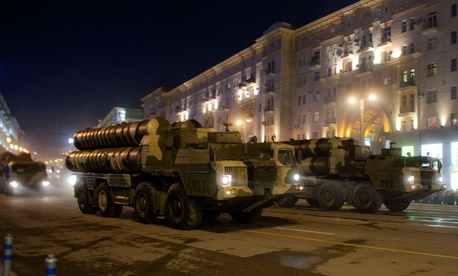 Russian army S-300 air defense missile launchers drive in a street during a rehearsal for the Victory Day military parade at Moscow's Red Square, Russia, May 4, 2009.