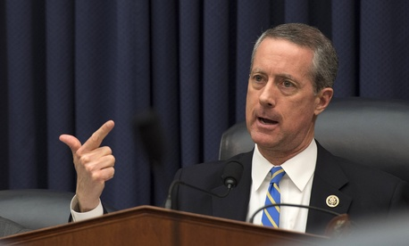 House Armed Services Committee Chairman Rep. Mac Thornberry, R-Texas, questions Defense Secretary Ash Carter as he testifies on Capitol Hill in Washington, Wednesday, March 18,2015.