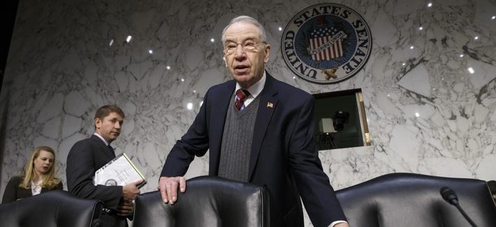 Senate Judiciary Committee Chairman Sen. Charles Grassley, R-Iowa arrives on Capitol Hill in Washington, Thursday, Jan. 29, 2015.