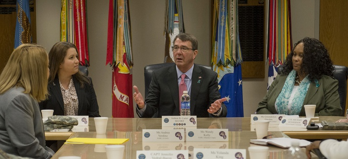 Secretary of Defense Ash Carter makes remarks during an Army Sexual Harassment/Assault Response and Prevention (SHARP) roundtable meeting at Joint Base Fort Myer-Henderson Hall, Va., Apr. 22, 2015.
