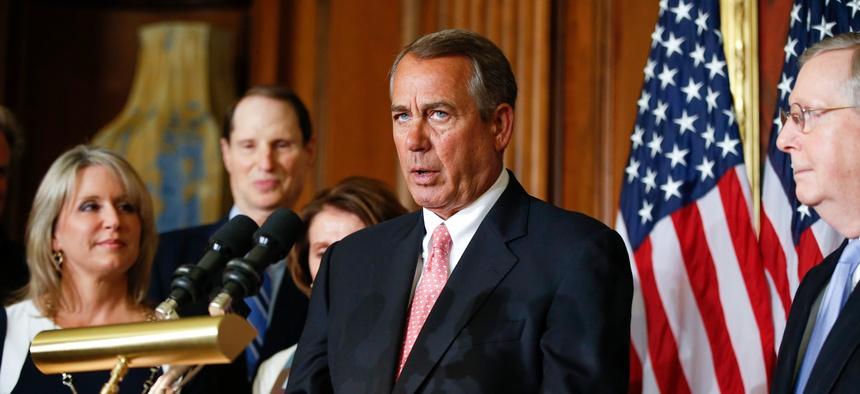House Speaker John Boehner speaks during a press conference on Capitol Hill, on April 16, 2015.