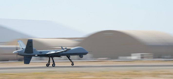 The 163rd Reconnaissance Wing flies the MQ‐9 Reaper in the airspace over the Southern California Logistics Airport in Victorville, Calif., July 30, 2014.