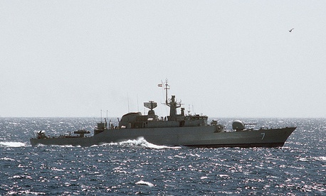 A starboard beam view of an Iranian Alvand-class frigate underway in 1988.
