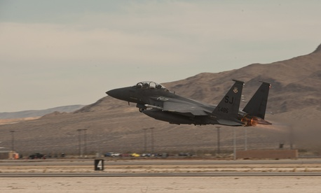 An F-15E Strike Eagle takes off Feb. 4, 2015, from Nellis Air Force Base, Nev., to participate in a Red Flag 15-1 training sortie over the Nevada Test and Training Range.