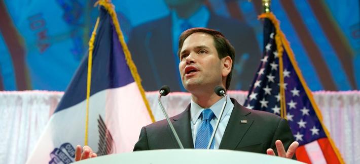 Republican presidential hopeful and iranian hardliner Sen. Marco Rubio, R-Fla., speaks in Waukee, Iowa, April 25, 2015.
