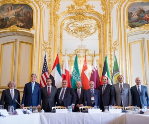 Secretary of State John Kerry and Foreign Ministers of the Gulf Cooperation Council pose for photographers at the Chief of Mission Residence in Paris, France, Friday, May 8, 2015, to discuss Middle East concerns about Iran acquiring nuclear weapons.