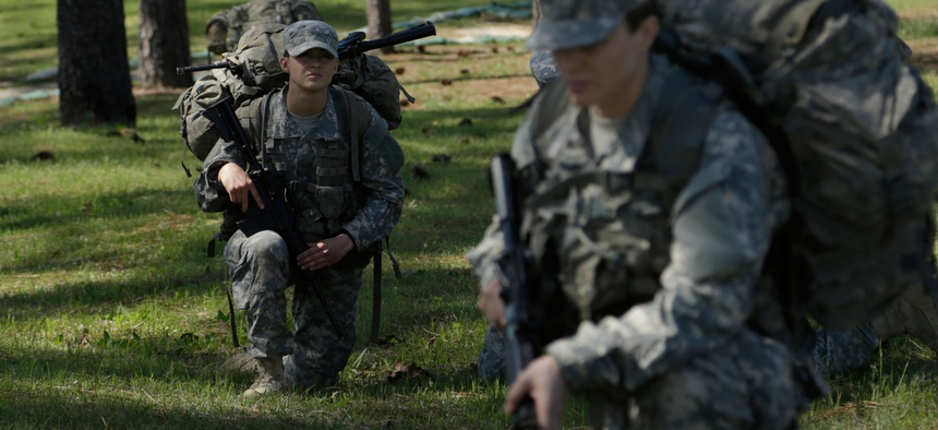 U.S. Army Soldiers practice battle drill movements for the Ranger Training Assessment Course (RTAC) at Camp Butler on Fort Benning, Ga., April 4, 2015.