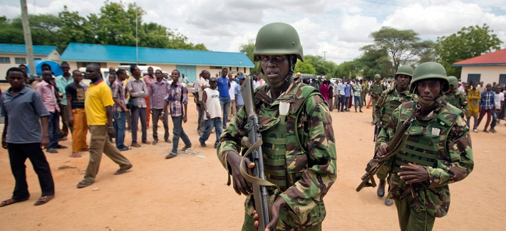 Kenya Defence Forces soldiers arrive at a hospital to escort the bodies of the attackers to be put on public view, in Garissa, Kenya, April 4, 2015.
