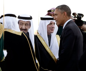 In this Tuesday, Jan. 27, 2015 file photo, President Barack Obama is greeted by new Saudi King Salman bin Abdul Aziz as the president and first lady Michelle Obama arrive on Air Force One at King Khalid International Airport, in Riyadh, Saudi Arabia.