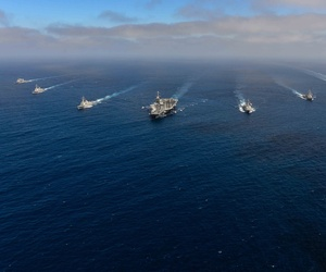 U.S. Navy ships are underway as part of a group sail with the John C. Stennis Carrier Strike Group.