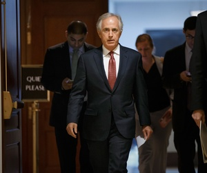 Senate Foreign Relations Committee Chairman Sen. Bob Corker, R-Tenn. leaves a closed-door security briefing on nuclear negotiations with Iran, Tuesday, Feb. 10, 2015, on Capitol Hill in Washington.