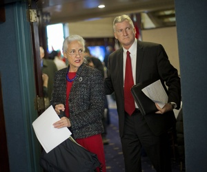 Debra and Marc Tice, parents of freelance journalist Austin Tice, arrive for a news conference at the National Press Club in Washington, Thursday, Feb. 5, 2015.