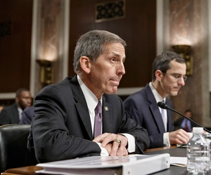 Veterans Affairs acting Secretary (now Deputy) Sloan Gibson testifies on Capitol Hill in Washington, Wednesday, July 16, 2014.
