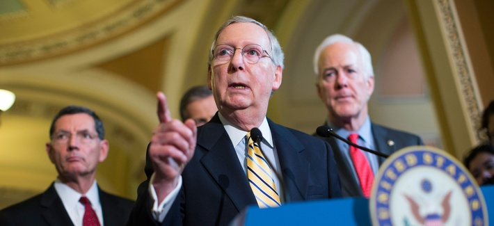 Senate Majority Leader Sen. Mitch McConnell, R-Ky., answers a question during a news conference on Capitol Hill in Washington, Tuesday, April 21, 2015.