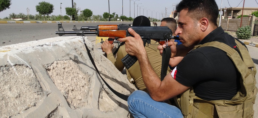 Sunni tribal fighters secure central Ramadi, the capital of Anbar province, 115 kilometers (70 miles) west of Baghdad, Iraq.
