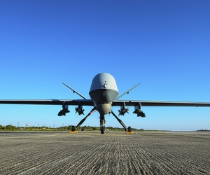 n MQ-9 Reaper sits on the flight line at Hurlburt Field, Fla., May 3, 2014.