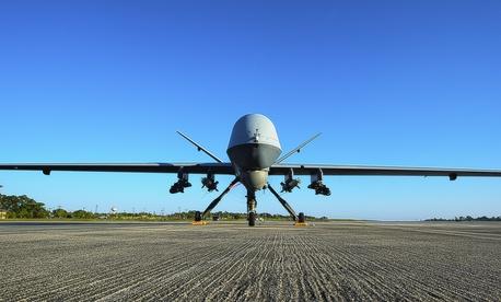 n MQ-9 Reaper sits on the flight line at Hurlburt Field, Fla., May 3, 2014.