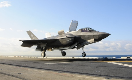 One of the Marine Corps' F-35Bs lifts off the flight deck of the USS Wasp during a test.