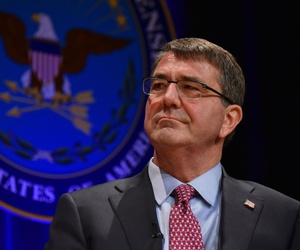Secretary of Defense Ashton B. Carter looks on during his swearing-in ceremony at the Pentagon March 6, 2015.
