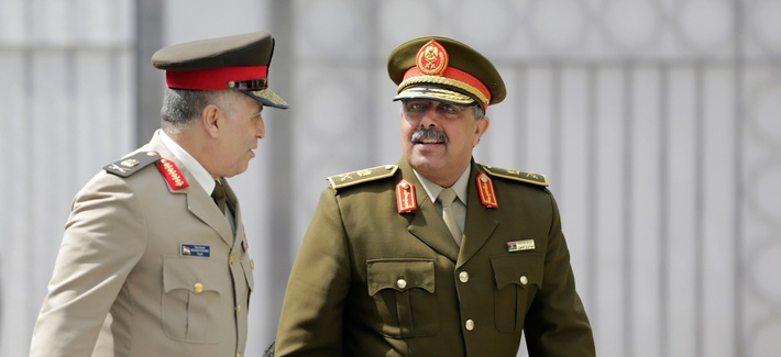 Lt. Gen. Abdel Razek Al-Nazori, Chief of Staff of the Libyan Armed Forces, right, is accompanied by Egyptian Major General, Mohammed Al Kishky, as they arrive at an Arab military chiefs meeting at the Arab League headquarters, in Cairo, Egypt, in April.