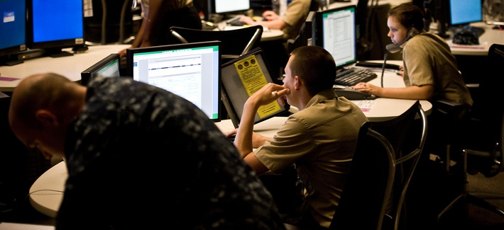 Navy cyber troops at the service's Cyber Defense Operations Command at Virginia Beach, Va., Aug. 9, 2010.