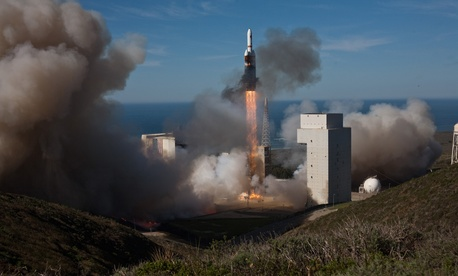 A United Launch Alliance Delta IV Heavy launches with a National Reconnaissance Office payload at Space Launch Complex-6 at Vandenberg Air Force Base.