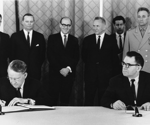 In this July 1, 1968 file photo, U.S. Ambassador Llewellyn Thompson, left, signs the Non-Proliferation Treaty alongside Soviet Foreign Minister Andrei Gromyko.