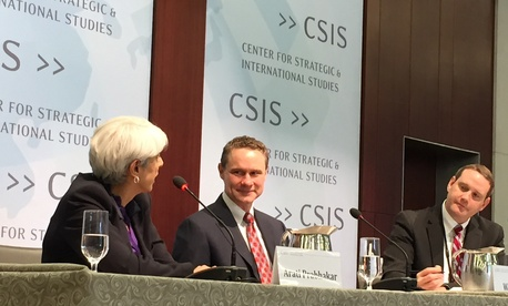 DARPA Director Arati Prabhakar (left) and Northrop Grumman CEO Wes Bush (center) discuss innovation and research at the Pentagon during an event at the Center for Strategic International Studies, on May 26, 2015.