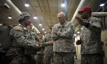 Army Chief of Staff Gen. Ray Odierno speaks to soldiers of the 82nd Sustainment Brigade at Fort Bragg, on May 1, 2015.