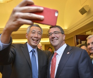 #Selfie with Singapore Prime Minister Lee Hsien Loong at the Shangri-La Dialogue! My pal Sen. Jack Reed needs to pull it in a little tighter.