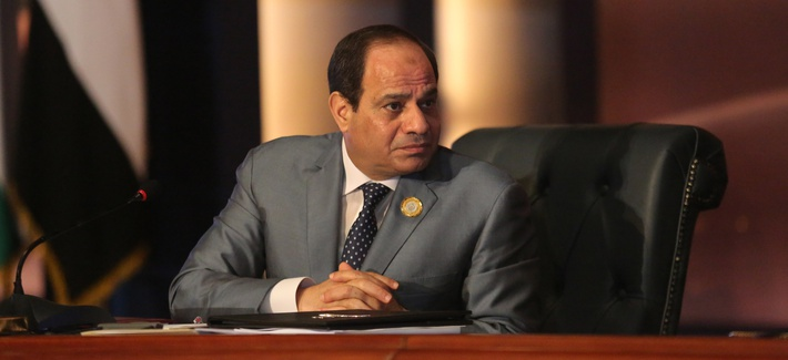 Egyptian President Abdel Fattah al-Sisi chairs an Arab foreign ministers meeting during an Arab summit in Sharm el-Sheikh, South Sinai, Egypt, Sunday, March 29, 2015.
