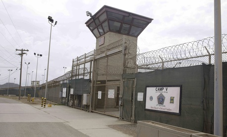 The entrance to Camp 5 and Camp 6 at the U.S. military's Guantanamo Bay detention center at Guantanamo Bay Naval Base, Cuba, Saturday, June 7, 2014.