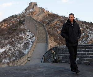 n this Nov. 18, 2009 file photo, U.S. President Barack Obama tours the Great Wall in Badaling, China.