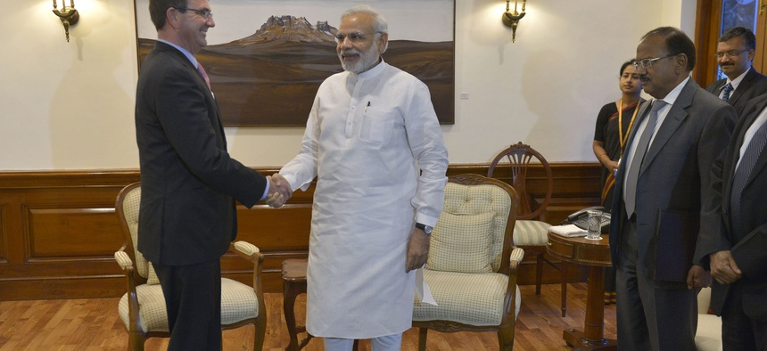 Secretary of Defense Ash Carter meets with Prime Minister of India Narendra Modi in New Delhi, India, June 3, 2015.