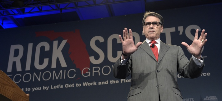 Former Texas Gov. Rick Perry speaks during Rick Scott's Economic Growth Summit in Lake Buena Vista, Fla., Tuesday, June 2, 2015.