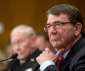 Defense Secretary Ash Carter and Joint Chiefs Chairman Gen. Martin Dempsey testify on Capitol Hill in Washington, Wednesday, May 6, 2015, before the Senate Appropriations Committee.