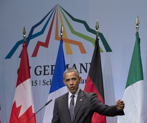 US President Barack Obama speaks during a news conference at the G-7 summit in Schloss Elmau hotel near Garmisch-Partenkirchen, southern Germany, Monday, June 8, 2015.