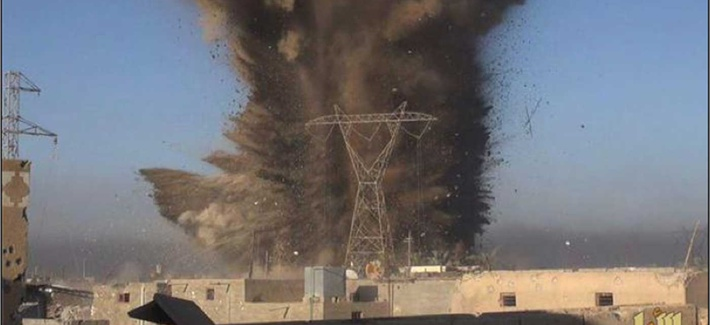 ISIS conducted an IED attack against an Iraqi Army headquarters building in Ramadi, on March 11, 2015.