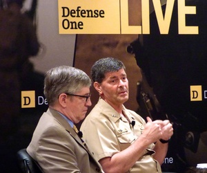 Deputy Chief of Naval Operations Vice Adm. Bill Moran and Deputy Army Chief of Staff Roy Wallace speak at Defense One's Force of the Future event on June 7, 2015.